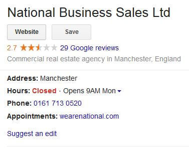 google reviews for National Business Sales