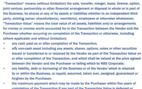 KBS Corporate Extract from Contract