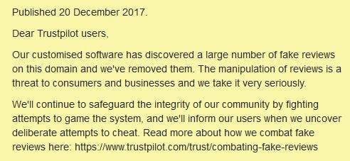 notice from trustpilot