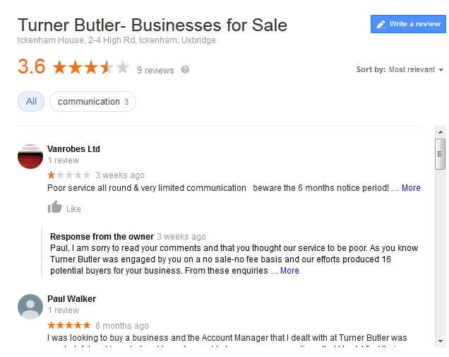 Google Reviews for Turner Butler